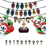 Vercico Set Once Artículos de Fiesta de Cumpleaños Temáticos Happy Birthday Banner, Cake Topper, Cupcake Toppers, Balloons for Kids Party Decorations