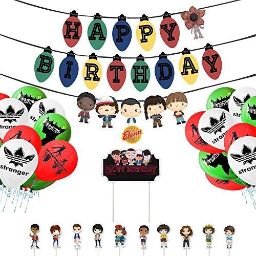 Vercico Lot de 11 décorations de fête d'anniversaire à thème « Happy Birthday », bannière de gâteau, décorations de cupcakes, ballons pour décorations de fête d'enfants