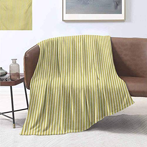 jecycleus Grey and Yellow Special Grade Blanket Circus Tent Inspired Vintage Retro Stripes Modern Image Multi-Purpose use for Sofas etc. W60 by L70 Inch Pale Yellow Beige and White