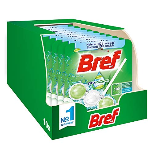 Bref Pro Nature Menta e Eucalipto, Detergente Profumatore In Pastiglie Igienizzante Bagno, Formato Scorta, 10 Pezzi