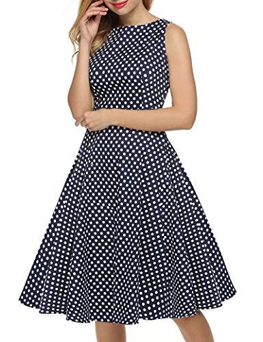 SLYZ 2021 Vestido De Estilo Retro De Estilo Nuevo para Mujer Falda con Estampado De Lunares Sin Mangas con Gran Swing