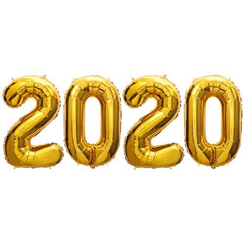 SUN-E 2019 Palloncini Banner Capodanno Eve Festival Decorazioni Decorazioni di Laurea Anniversario Forniture per Feste 4 in Set 100CM / 40Inch (002Bright Gold)