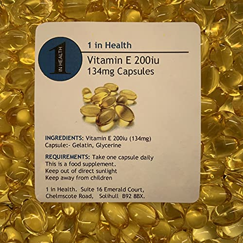 Vitamin E 200iu (134mg) Powerful Antioxidant, Boost Immune System - Grip Sealed & Healthy Fresh - Fast & Free Same Day Dispatch (60)