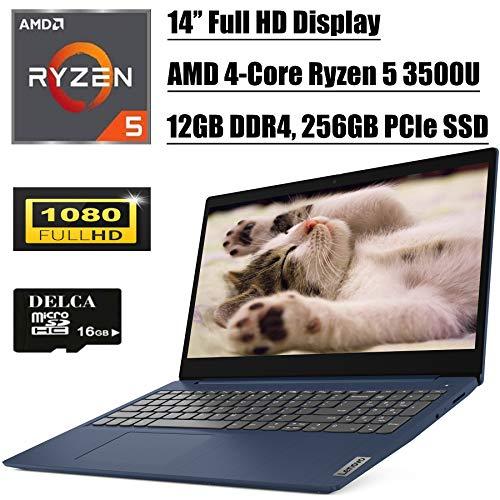 "Lenovo IdeaPad 3 14 2020 Newest Laptop Computer I 14"" FHD Display I AMD Quad-Core Ryzen 5 3500U (> i7-7500U) I 12GB DDR4 256GB PCIe SSD I Dolby AudioHDMI WiFi Win 10 + Delca 16GB Micro SD Card"