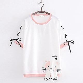 CDDKJDS Summer Kawaii Graphic Tee Shirt Sweet Heart Embroidery Women T Shirt Cute Lace Up Pink Shirt Tops (Color : White, ...