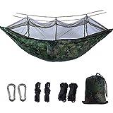 BSFYUK Doppia Camping Hammock con zanzariera Leggeri in Nylon Parachute Amache per Camping Corda del Cotone di Viaggio Beach Escursionismo Backyard (Contenere Fino a 800lbs),Camuffare
