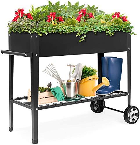 Mobile Raised Metal Planter Elevated Garden Bed for Backyard, Patio W/Wheels, Lower Shelf, 38x16x32in, Dark Grey