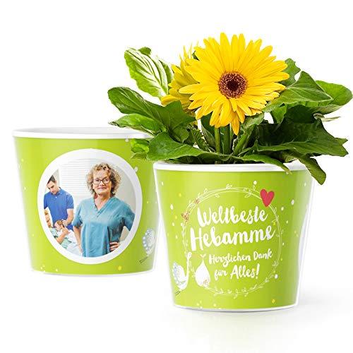 Weltbeste Hebamme Blumentopf (ø16cm)   Geschenk für Hebammen als Dankeschön zur Geburt oder Geschenke während der Schwangerschaft mit Bilderrahmen für 2 Fotos (10x15cm)   Herzlichen Dank für Alles