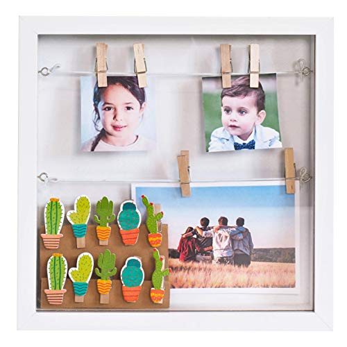 Gadgy  Box frame with 18 Clips | 10x10 inch (25x25x4 cm) | White/Black Box Design | 3D Shadow box | Display your Photo Memories