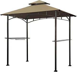 Keymaya 8'x5' Grill Gazebo Shelter for Patio and Outdoor Living BBQ Shelter Tent, Double Tier Soft Top Canopy and Steel Frame with Bar Counters, Bonus LED Light (Khaki)