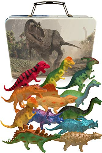 3 Bees & Me Dinosaur Toys for Boys and Girls with Storage Box - 12 Large 6 Inch Toy Dinosaurs & Case - Gift for Kids Age 3 to 8