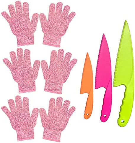 POCOMOCO 3 Pairs Kids Cut Resistant Gloves Ages 5 12 for Cooking with 3 Pieces Kids Safe Knife product image