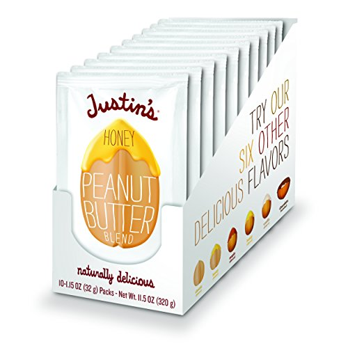 Justin's Honey Peanut Butter Squeeze Packs, Gluten-free, Non-GMO, Responsibly Sourced, 1.15 Ounce (Pack of 10)