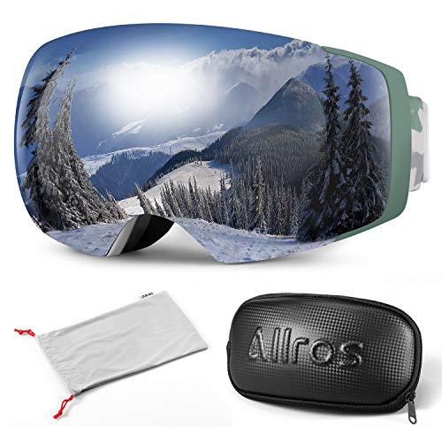 ALLROS Gafas de Esquí con Lente Magnética sin Marco, Máscara de Esquí Unisex, OTG, Anti-Niebla y UV400, para Snowboard, Skating y Otros Deportes de Nieve