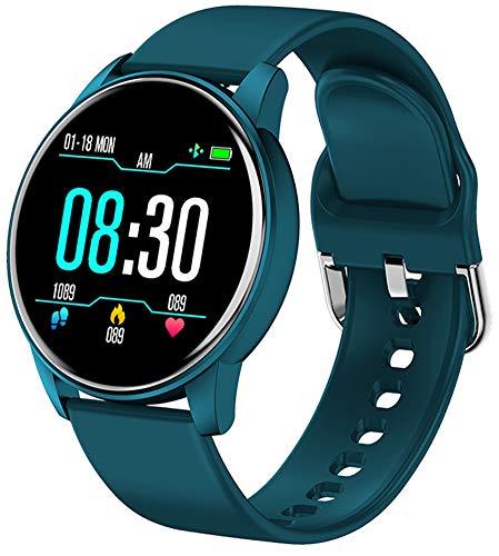 XWZ Damen Smart Watch Echtzeit Wettervorhersage Tätigkeit Tracker Herzfrequenzmonitor Sport Damen Smart Watch Männer Für Android Ios,Blau