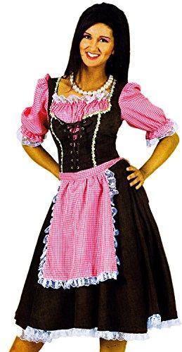 Nerd Clear Klassisches Dirndl Kleid lang mit rosa Schürze in Wildleder Optik Gr. 40-42