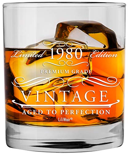 1980 40th Birthday Gifts Men Women   Birthday Gift for Man Woman turning 40   Funny 40 th Party Supplies Decorations Ideas   Forty Year Old Bday Whiskey Glass   40 Years Gag Vintage Dude Presents Mens