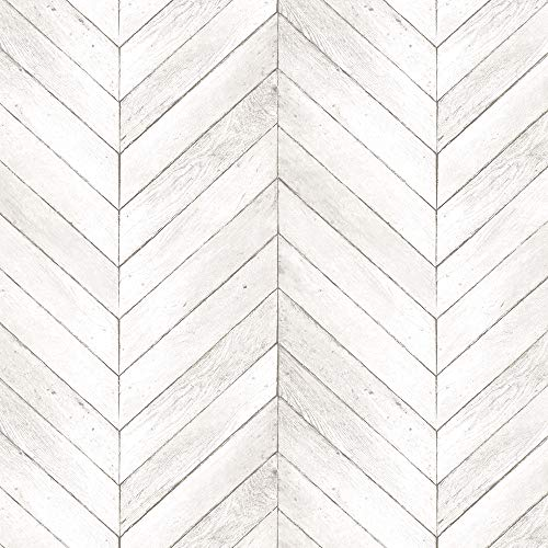 Norwall G68000 Chevron Wood Wallpaper, Neutral, Light Taupe, Ivory, Beige