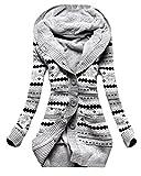 Newlife Donna Cappuccio Cardigan in Maglia Autunno Manica Lunga Pulsante Cappotto Maglieria Sottile Lunghe Tasca Coat Kimono Top (IT48, Grigio)