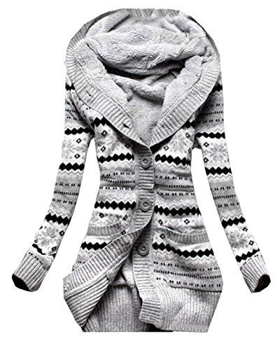 Newlife Donna Cappuccio Cardigan in Maglia Autunno Manica Lunga Pulsante Cappotto Maglieria Sottile Lunghe Tasca Coat Kimono Top (IT42, Grigio)