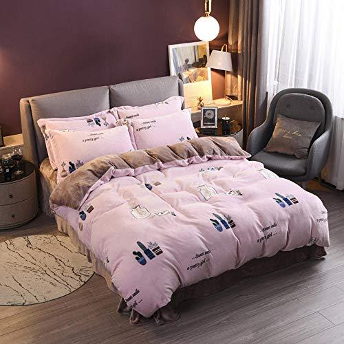 geek cook Flannel duvet cover set,Winter thick coral fleece four-piece plush warm bedding milk fleece sheet duvet cover double-sided flannel-Cute bottle_1.2m (4 feet) bed