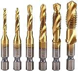 UNIQTOOLS 6 Pack Titanium Combination Drill Tap Bit Set Screw Tapping Metric (M3-M10) 1/4' HSS Spiral Hex Shank Combination Drill Screw Tap Bit Set Screw Tapping Bit Tool for Drilling, Tapping, and Countersinking