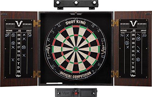 Viper Stadium Cabinet & Shot King Sisal/Bristle Dartboard Ready-to-Play Bundle: Elite Set...