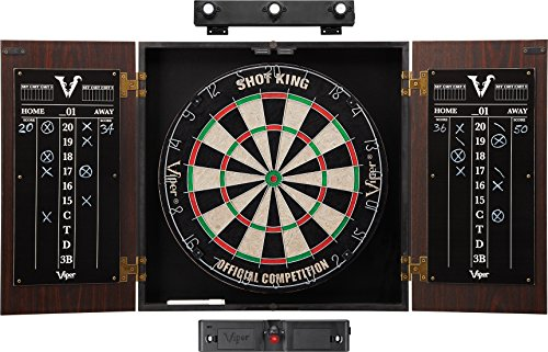Viper Stadium Cabinet & Shot King Sisal/Bristle Dartboard Ready-to-Play Bundle: Elite Set (Shot King Dartboard, Darts, Shadow Buster and Laser Throw Line)