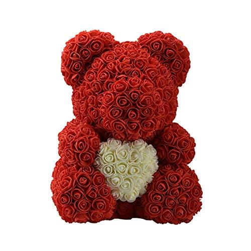 40 cm oso de rosas, flor rosa preservada para siempre, oso rosa artifi