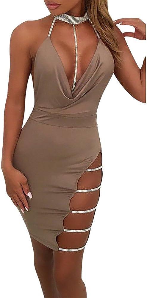 Hengshikeji Womens Sexy Party Cheap sale sale Dresses Neck Halter Deep V Backles