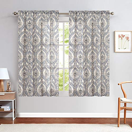 """Damask Printed Curtains for Bedroom Drapes Vintage Linen Blend Medallion Curtain Panels Window Treatments for Living Room Patio Door 2 Panels 63"""" Blue"""