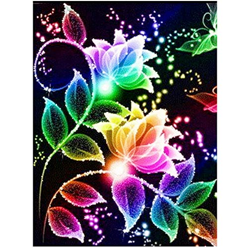 HuaCan DIY Diamond Painting Arts for Adults 5D Colorful Flower Full Square Drill Photo Rhinestone Cross Stitch Paint with Diamonds Kit for Kids Home Decor 30x40cm/11.8x15.7in