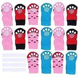 VILLCASE 4 Juegos de Calcetines Antideslizantes para Perros, Botas de protección de Patas para Interiores con Correas para Cachorros-Ropa para Mascotas