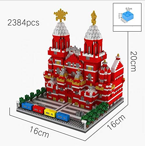 Zenghh World Cultural Red Square Model, Famous Landmark Large 3D Crafts Ornament, Russia Moscow City Historic Building Blocks, Diamond Miniature Puzzle Tiles Toys, Creative Valentines Gift
