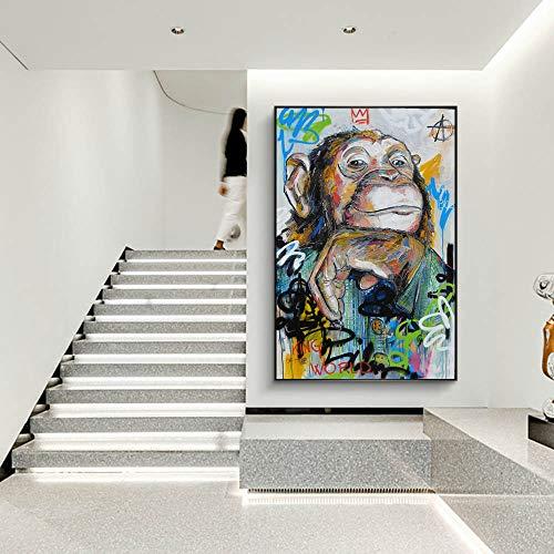 Leinwanddrucke-Abstrakte AFFE Gekritzel Druck auf Leinwand Wandplakate und Heimdekoration für Wohnzimmer60x90cmFrameless Malerei