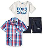 Ecko Baby Boys Sleeve Sport, T-Shirt, and Short Set, Red Blue Plaid Multi, 12M