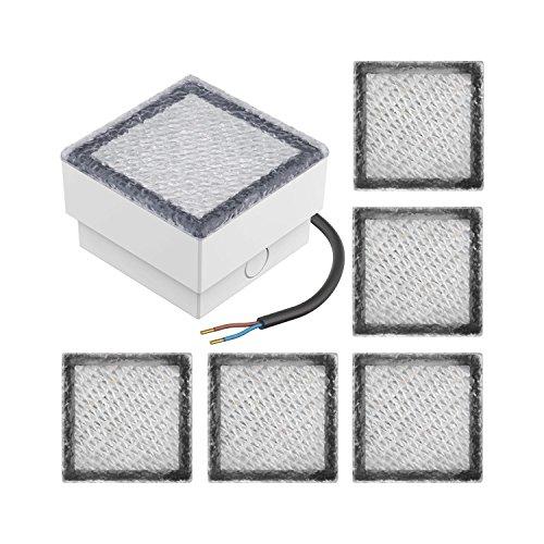 Parlat LED mattonella Lampada da Incasso a Suolo CUS 10x10cm 230V Bianca Calda, 6 PZ
