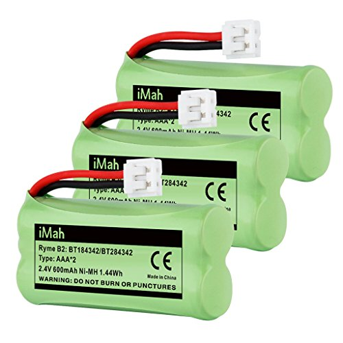 iMah BT184342/BT284342 Cordless Phone Battery Pack Compatible with Vtech AT&T BT18433/BT28433 BT1011 BT1018 BT1022 BT1031 CS6219 CS6229 DS6151 Motorola L602 L701 Handset, Pack of 3