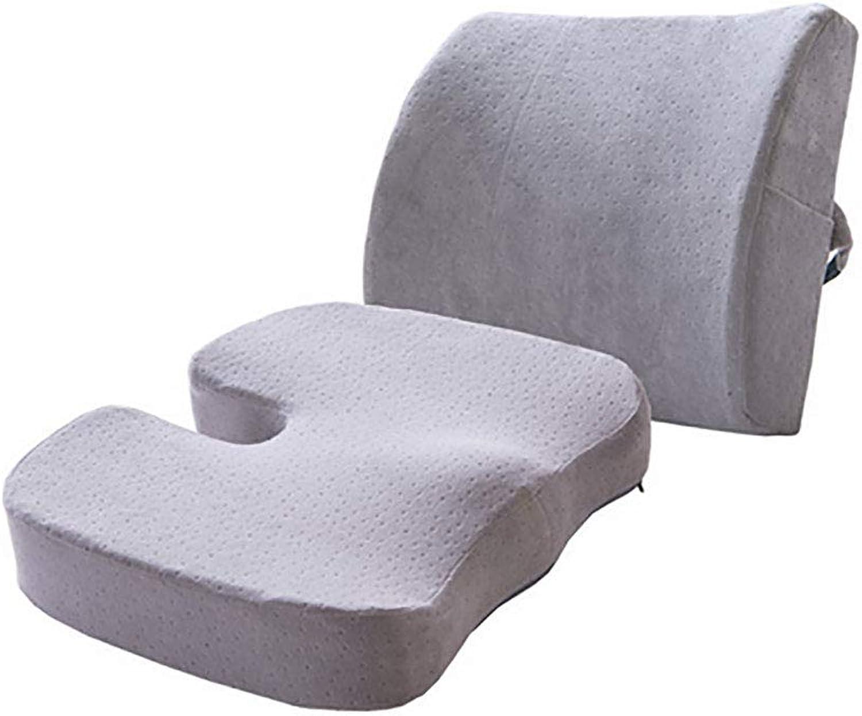 Seat Cushion Orthopedic Memory Foam and Lumbar Support Pillow(Cushion Size  46  37  7cm Waist Size  34  32  12cm)