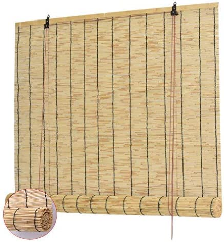 Zlovne Natural Reed Curtain,Roman Blinds Louver Window Roller Blinds,Bamboo Roll Up Window,Home Sunshade Light Filtering 70% Vertical Lift Decoration,Anti-Uv,Customizable (50x60cm/20x24in)