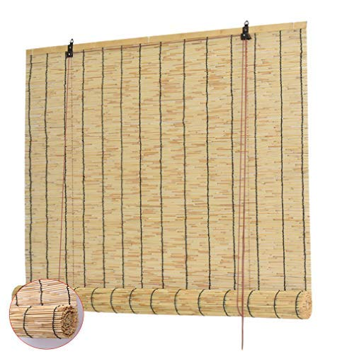 Zlovne Natural Reed Curtain,Roman Blinds Louver Window Roller Blinds,Bamboo...