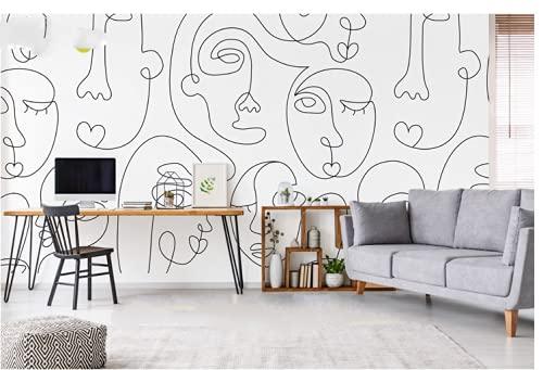 Carácter abstracto Rollo de papel pintado autoadhesivo con diseño ideal para decorar el dormitorio o la sala de estar - Decoración de pared de estilo vintage
