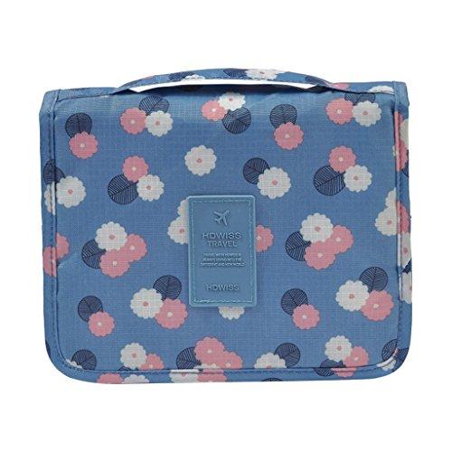B Blesiya Trousse De Toilette à Suspendre avec Crochet Unisexe pour Maquillage - Fleurs Bleu Ciel, 48x24x1cm
