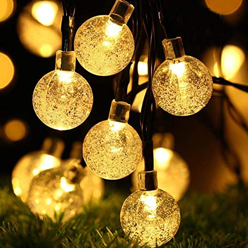 String Lights,100 LED 40ft Outdoor Solar Powered Waterproof Crystal Ball Lights for Garden Patio Yard Fence Balcony Wedding Birthday Christmas Decoration (Warm White)