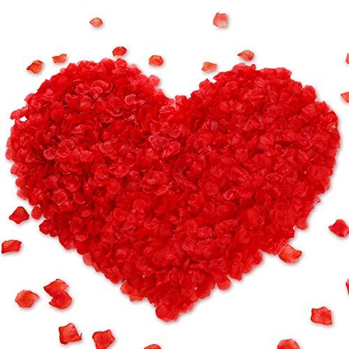 1 000 stycken icke-smakande PA rosblad bröllop konstgjorda rosor falska rosblad (RED)