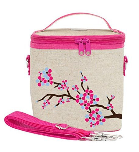 SoYoung Large Cooler Bag - Raw Linen, Eco-Friendly, Retro-Inspired, Leakproof, Easy to Clean (Cherry Blossom)
