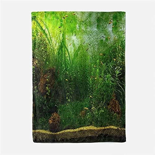 BLZQA Manta de Gran tamaño, cálida para Adultos, súper Suave con Franela Suave Antibolitas, para Adultos y niños, impresión 3D Selva Verde,130 x 150 cm