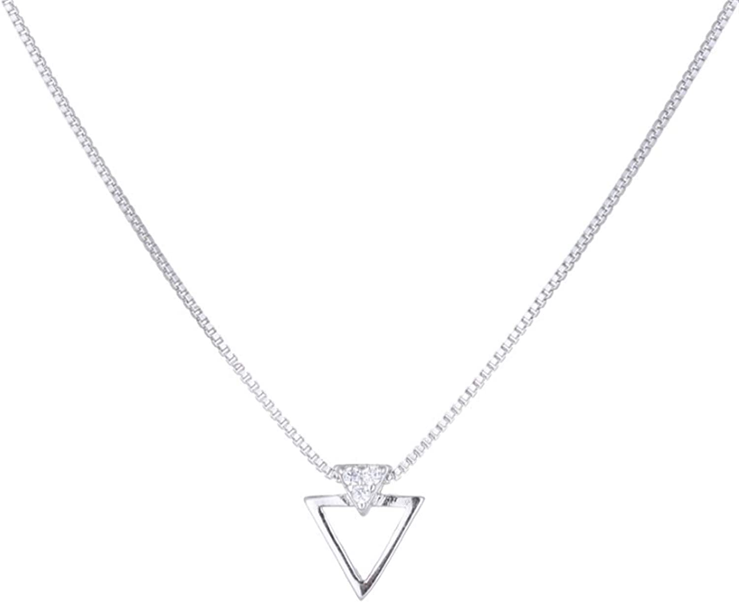 QWERBAM Christmas Jewelry Triangle Necklaces for Women Femme Gifts Charm Necklaces Collar