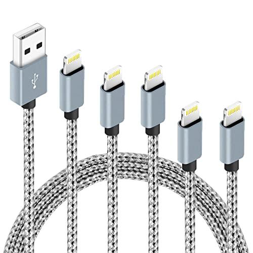 IDiSON Cable Lightning para iPhone Apple MFi de nailon trenzado de carga rápida compatible con iPhone Max XS XR 8 Plus 7 Plus 6s 5s 5c Air iPad Mini iPod (gris blanco)