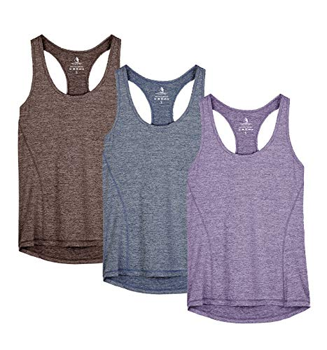 icyzone Damen Sporttop Yoga Tank Top Ringerrücken Oberteil Laufen Fitness Funktions Shirt, 3er Pack (XL, Henna/Twilight Purple/Navy)